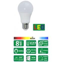 ΛΑΜΠΑ LED ΓΛΟΜΠΟΣ 8W E27 F&U L-A8C4