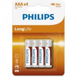 R03L4B/GRS PHILIPS AAA ZINC LONGLIFE 4 TMX BLISTER